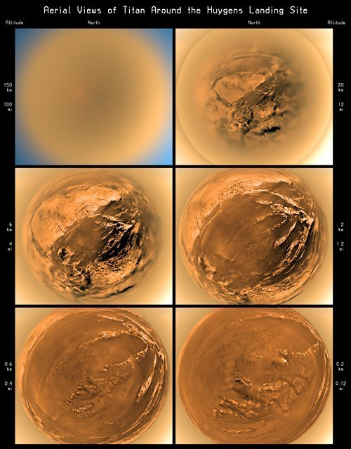 Photos taken by the Huygens probe as it was landing on the moon Titan On January 14, 2005, the Huygens space probe landed on the surface of Saturn's moon Titan (shown left). Organized as a joint mission by the Italian Space Agency, ESA and NASA, the Huygens' touchdown marked the first spacecraft landing in the outer solar system and still remains the most distant landing of any craft launched from Earth to this day. Via