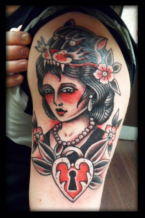 Panther Head Woman & Heart Locket by Roberto Poliri at Forevermore Tattoo Parlour Glasgow
