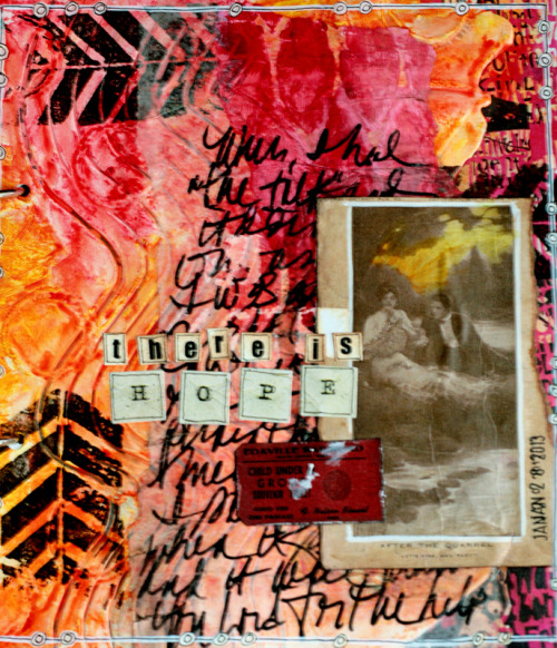 Recent art journal page using a technique with gesso taught by Nathalie Kahlbach in Creative Jumpstart.