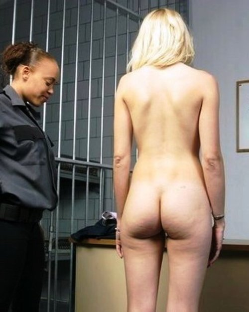 About to have her pretty bare bottom searched in jail!CagedTushy.com