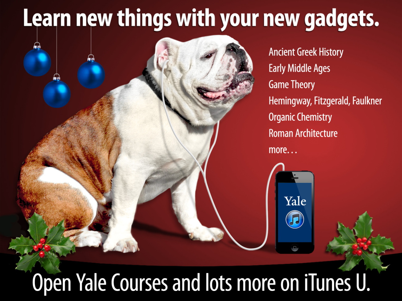 Load up your new gadgets with free Yale lectures on Roman Architecture, Organic Chemistry and GameTheory from Open Yale Courses on iTunes U! itunes.yale.edu.