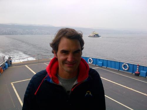 Roger Federer… working hard as usual.