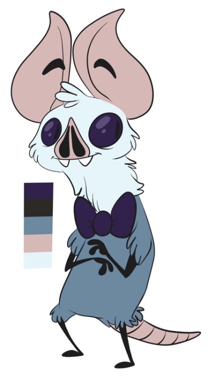 the-tourguide:  Also this is Bernard, a wingless bat guy who works in a tavern with knogs's Tashi (whoshestillhastopost) He'll get a wardrobe update soon :V