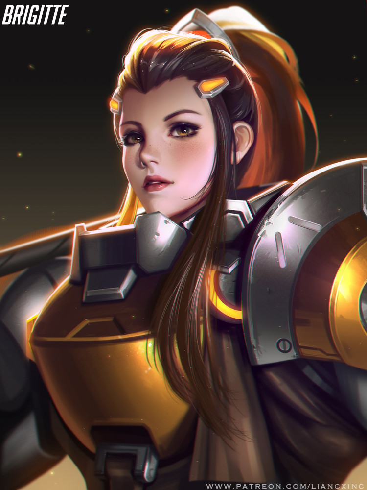 Brigitte - Overwatch fan art by Liang xing