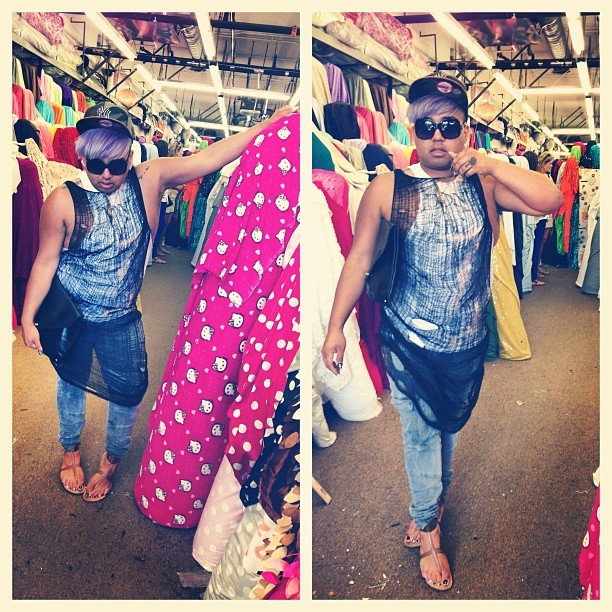 #ootd fabric shopping; shredded I tank by @mistachic, cargo pants by @jbrandjeans, sandals By @aldoshoes, clutch by @philliplim #fashion #style  (at Fabric District)