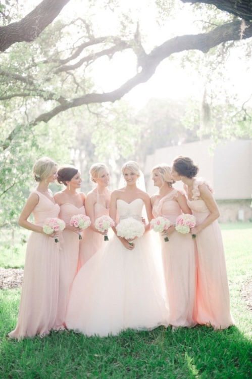 outerinner-gallery:  Tulle wedding dress and pink bridesmaid dresses all contribute to a fairy tale wedding.