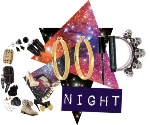 Good Night by omgitsferucha featuring platform wedge bootiesJimmy Choo studded high heels / Alexander McQueen black high heels / Tory Burch studded ballet flat / Platform wedge booties / River Island stiletto pumps, $63 / Pink & Pepper bootie boots / Punk shoes / Alexander McQueen skull handbag / Bardot studded handbag, $37 / Mulberry bangle jewelry / Minor Obsessions long gold earrings / Noir Jewelry bangle jewelry, $165 / Kate Spade  earrings / Belle Noel by Kim Kardashian studded jewelry / Kate Spade studded jewelry / Gathering Eye skull jewelry, $16 / Ivory earrings / Bare Escentuals