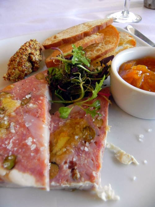 Mississippi Rabbit Terrine with kumquat compote, pistachios and a toasted baguette from Patois