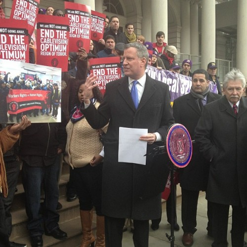 """We ask for companies to follow the rules""—@BilldeBlasio #cablevision #nyc #labor #nyc2013"