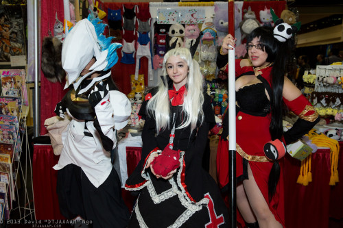 zilai:  My boyfriend, mugiboogie, as Hakumen, my friend as Rachel, and me as Litchi from BlazBlue at Megacon.