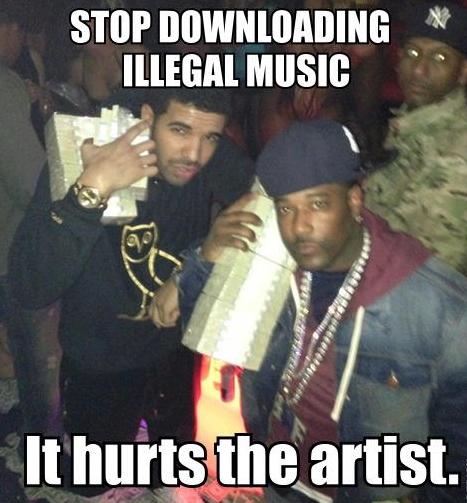 'Deja de bajar música que estás arruinando a los artistas' RMMBR: Llueve dinero cuando Drake sale de fiesta.
