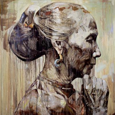 cervantesr:   Chinese Profile III,Oil on Canvas,Hung Liu1998