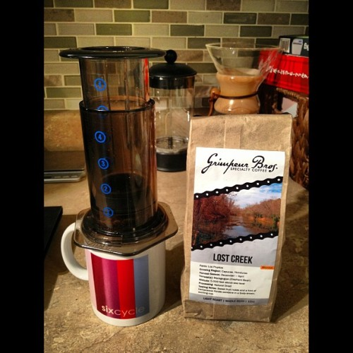 grimpeurbrosspecialtycoffee:  @TeamSixcycle & @GrimpeurBros' #LostCreek #Microlot & #Aeropress…MAD #CoffeeDoping Oh Yeah! #specialtycoffee #Honduras #cycling #bikeatx #bikenyc #squaready  Fave #coffee #cup combo! Good luck this weekend racing @TeamSixcycle!  DISCLOSURE #1: I am a Co-Founder and one of the Grimpeur Bros. DISCLOSURE #2: Insider tip: Get the microlots QUICK! Seriously…