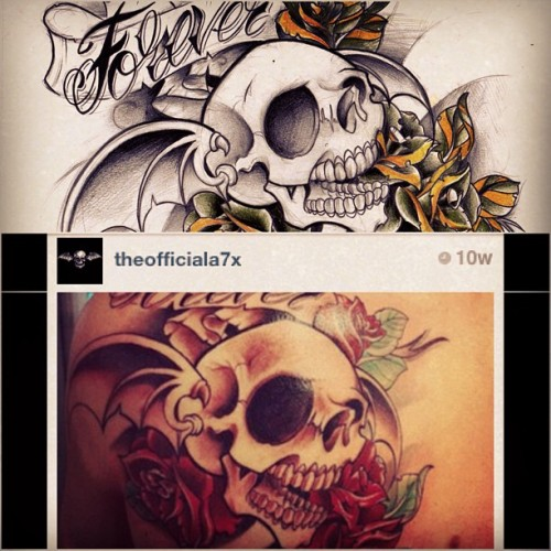Saw a tattoo on the official Avenged Sevenfold instagram of an old drawing i did a few years ago. Haha awesome!! Thanks for posting it @theofficiala7x !! #tattoo #forever #therev #skull #nightmare #avengedsevenfold #a7x #a7xtattoo