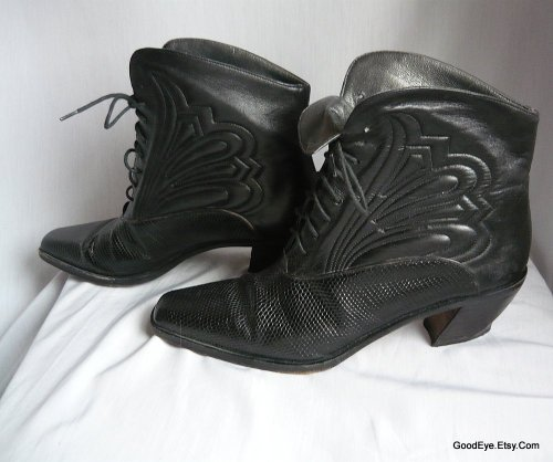 vintage Via Spiga leather granny boots..quilted leather..sz 7.5 narrow @ www.GoodEye.Etsy.Com