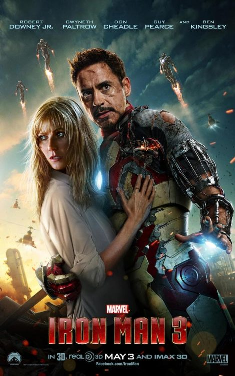 Newest Iron Man 3 poster featuring Tony Stark & Pepper Potts. And a few extra Iron Man armors…