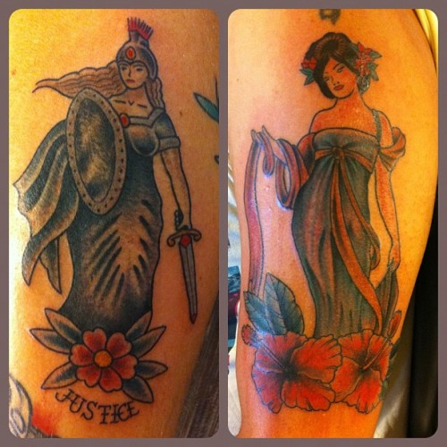 Two ladies from last month. Sorry for the bad pics. #georgeburchett #pinup #alphonsemucha #lady #tattoo #stevenrodriguez #sr27 #ochoplacas #miami  (at Ocho Placas Tattoo Co.)