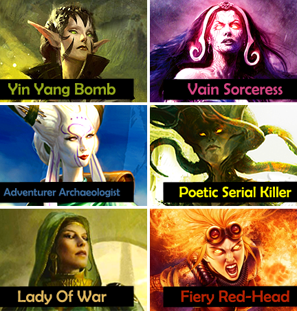 thecatwhowalksbyherself:  Magic: The Gathering: Female Planeswalkers and their tropes.