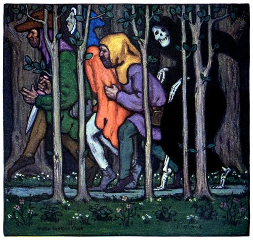 The three rogues search in the woods for death.  Walter Appleton Clark, from The Canterbury tales of Geoffrey Chaucer, modern rendition by Percy MacKaye, New York, 1914.  (Source: archive.org)