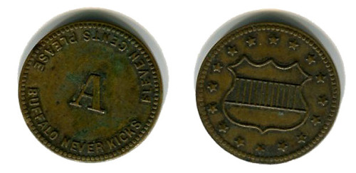 This (U.S.) nickel sized token is a bit of a mystery. I've scoured the internet, and even posted this to a website for collectors of oddities and rarities but to no avail. My initial thoughts were that this could be another Civil War token, but a collector of such items said that he couldn't find it in his books and he didn't think it was that old. Looking at the shield I would think it was, but I noticed that the old Civil War tokens were in general .01 to .03 cents. So .11 cents seems a bit out of place. The other option I came up with is maybe it was a souvenir from the 1901 Pan-American Exposition World's Fair held in Buffalo (the one that President McKinley was assassinated at), but I can't find any evidence to support this theory. I found a few that had been sold on Ebay and the like, yet absolutely no background info. So at this point I'm stuck. Do you know what this is?