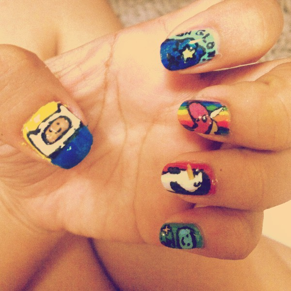 Nail art-ing at 4:48am :p #adventuretime #nailart (Photo taken and uploaded via MOLOME )