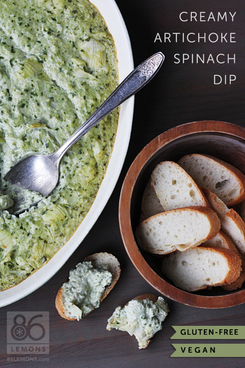 smilestones:  Creamy Artichoke Spinach Dip (Vegan/Gluten Free) INGREDIENTS: ¾ cup plain unsweetened non-dairy milk (I used almond milk) 2½-3 tbsp freshly squeezed lemon juice 1-2 medium-large cloves garlic ¾ tsp sea salt ½ tsp dry (ground) mustard freshly ground black pepper to taste ¾ cup raw cashews (unsoaked) 2 cups frozen artichoke hearts (I used one 9 oz. box), partially thawed (helps for pulsing in blender) 2 cups (loosely packed) spinach leaves  STEP 1:Preheat oven to 425ºF.  In a blender, add milk, lemon juice, garlic, salt, dry mustard, pepper and cashews. Blend until very smooth. If using a Vitamix or other high-powered blender, this will only take a minute or so. If using a standard blender, keep blending until very smooth. STEP 2:Add artichokes and spinach and very briefly blend or pulse. Do not fully blend, keep some chunky texture! My mixture wasn't quite as chunky as I prefer, so I scooped the mixture into a bowl and stirred in a can of quartered artichoke hearts (drained, rinsed and chopped). STEP 3:Transfer mixture to an oven-proof baking dish, and bake for 17-20 minutes. Do not bake any longer or the spinach will turn off-color. Serve warm with raw veggies, bread, tortilla chips, pita bread/chips or crackers. I liked it even better after letting it cool, then refrigerating and re-heating it later.
