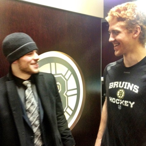 nhlbruins:  Tyler Seguin congratulates First Star Dougie Hamilton in the locker room postgame. #nhlbruins