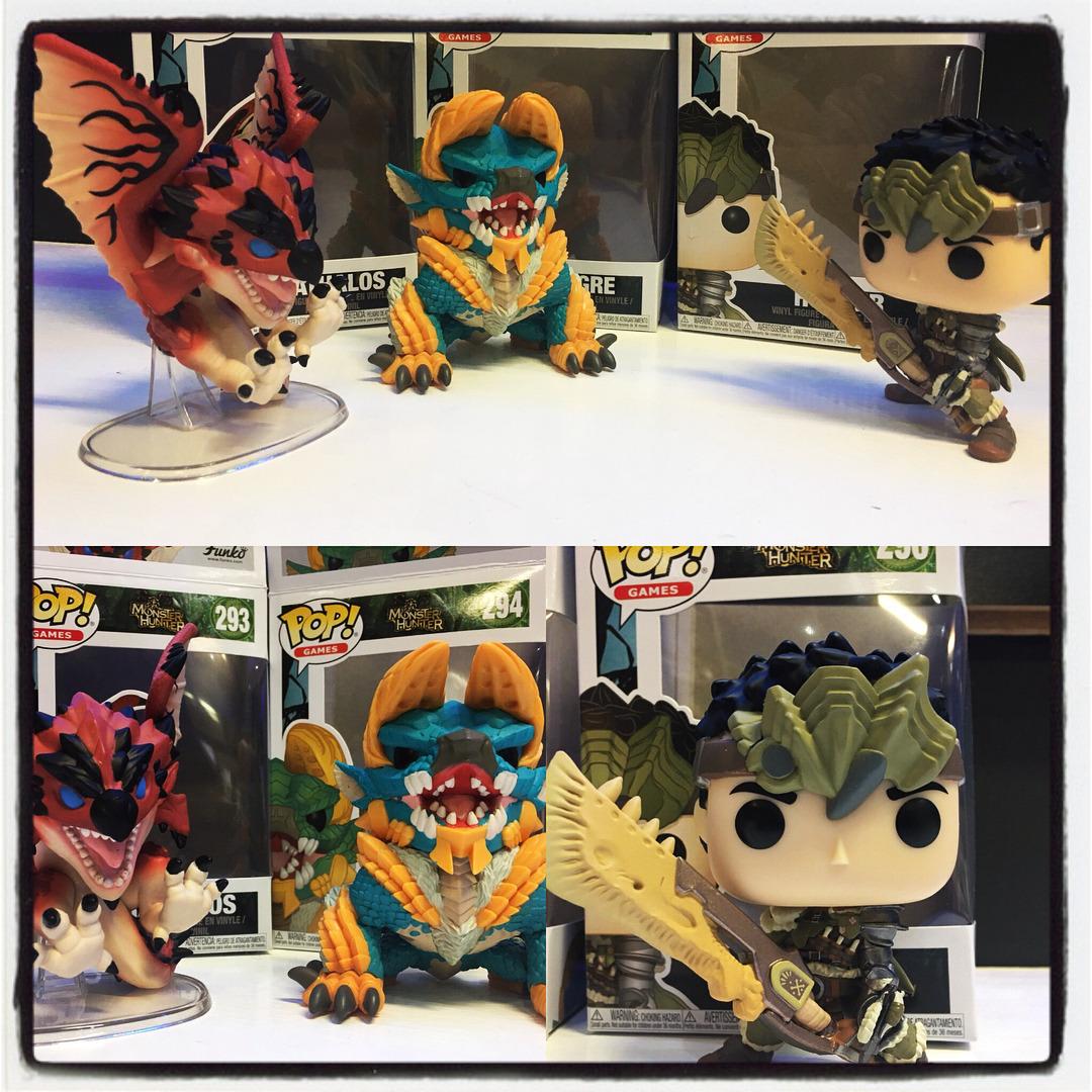 New Monster Hunter POP figures! Rathalos, Zinogre, and a hunter. Come get yours at #hudsonsvideogamessanford ! #funkopop #monsterhunterworld #monsterhunter #zinogre #rathalos #hunter #playstation4 #sony #xboxone #microsoft #happyfriday #pop #funko #videogames #hudsonsvideogames  (at Hudsons Video Games - Sanford)