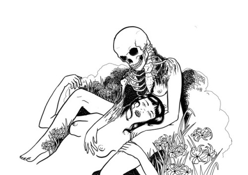 wip sketchbook death maiden black and white drawing art illustration flowers flora skeleton sketch horror macabre unfinished digital art procreate skull weird monochrome high contrast