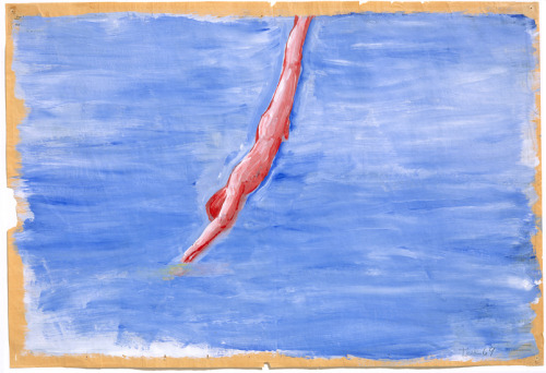theories-of:  Paul Thek, Untitled (Diver), 1970, acrylic on newspaper, 58.42 x 73.66 cm