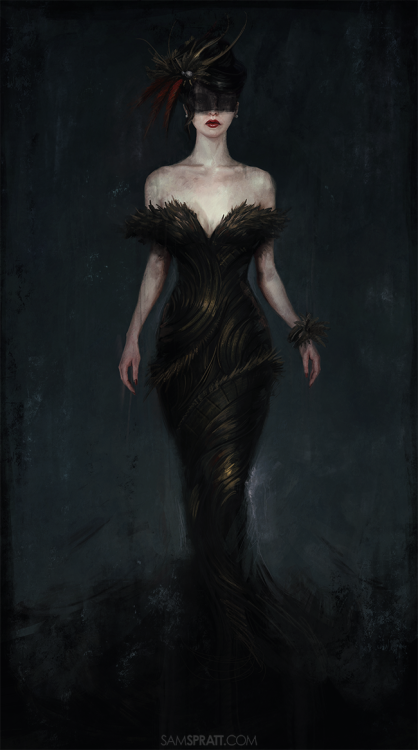 """Lady In The Dark Dress"" - Illustration by Sam SprattTwo of my many artsy New Year's resolutions were to do more full-body portraits (as opposed to my usual chest-up) and to imagine up design elements I normally wouldn't put much thought into — in this case, a dress."