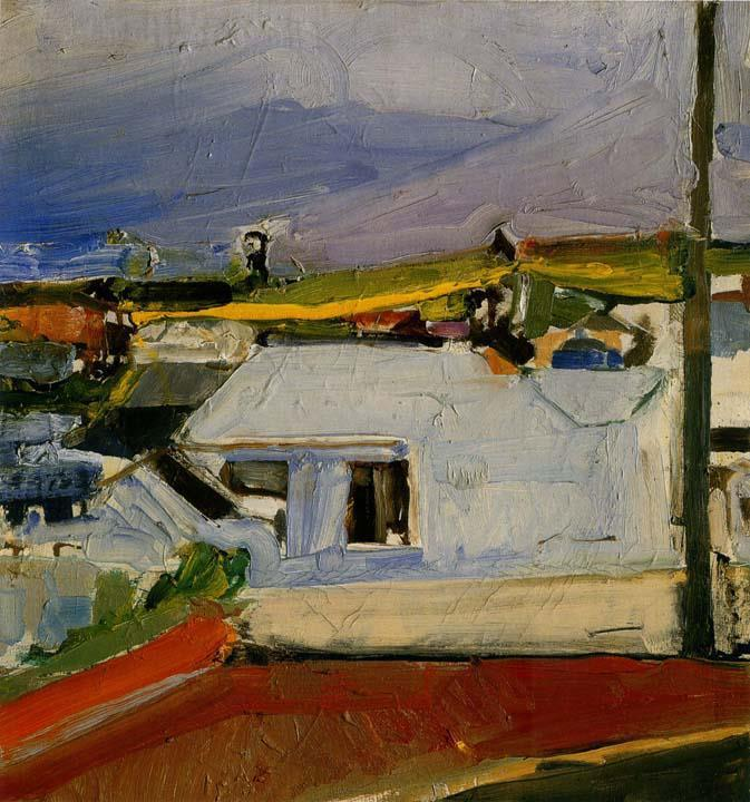 "alongtimealone:  Richard Diebenkorn 1922-1993  Chabot Valley 1955  oil on canvas 19½""x18¾""  private collection"