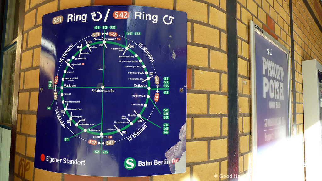Clockwise/Counter-Clockwise: the Berlin Ringbahn Map That's enough from Boston for a while… let's head to Berlin to look at this odd little map.  It shows the S41 and S42 S-Bahn lines, which travel clockwise and counter-clockwise, respectively, along the Ringbahn, a 37km (23 mile) loop around Berlin.  While the map is packed with information — interchanges with other S- and U-Bahn services, stations with transfers to Deutsche Bahn trains, and estimated travel times between major stations — it just feels a little messy and unfinished to me, and definitely at odds with the precise and minimalist design style one normally associates with German transit maps. (Source: luciwest/Flickr)