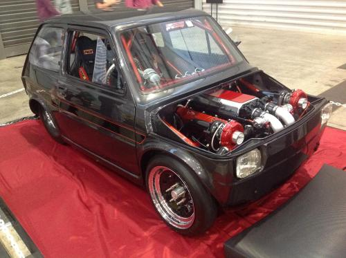 funkinmunky:  Tubbed Fiat with a Holden 5 Litre twin turbo in it… sounds like fun to me…