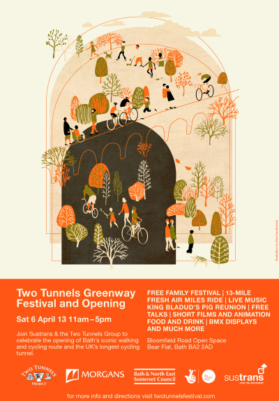 Ace Eliza Southwood poster for the Two Tunnels Greenway Festival & Opening. There's an A4 PDF version to download here