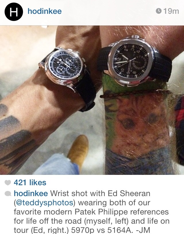 sheeran-usa:  kdtesting123:  John mayer post on hodinkee instagram.  Ed's arm hair looks like a ginger forcefield