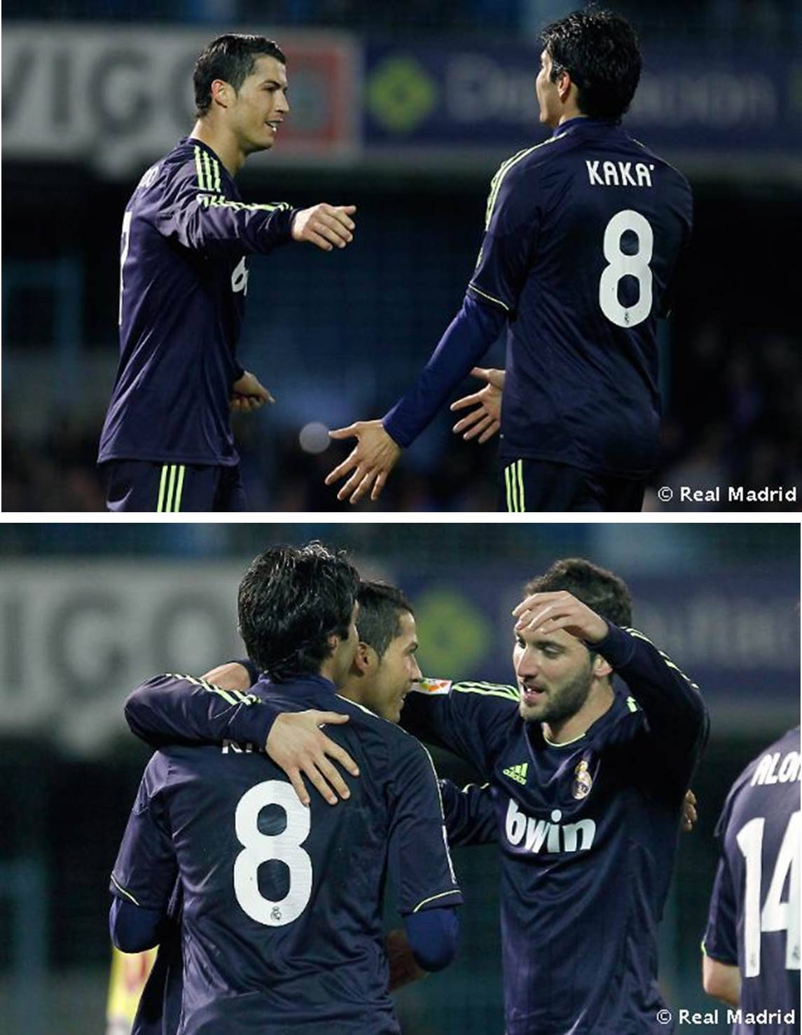 Celebrating a kind of CrisKa goal: Foul vs. Kaká - penalty goal Cristiano ♥ Celta de Vigo vs. Real Madrid 1:2, 10.03.2013 (62' + 72' Cristiano Ronaldo / 63' Aspas )