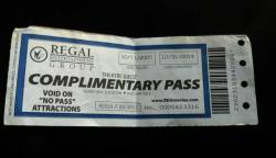 #less365, day 365: one less free movie pass that I got in 2007 for completing a short survey since the showing we went to was special for the hearing impaired. At the time, I thought the 2014 expiration date was silly. I mean, 7+ years? Really?? But here we are at the end of 2012 and I still haven't used it. I moved mid-2008 and am not near any Regal theaters anymore. Regifting this to my cousin.