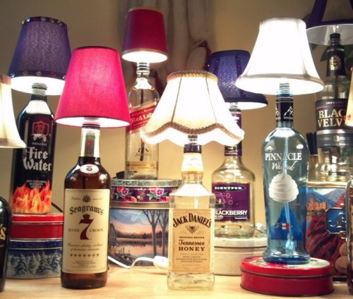 How to make a liquor bottle lamp for $10 Want to add some upcycled style to your home bar? How about reclaim the waste from your local pub to turn a personal profit? Either way, this DIY liquor bottle lamp project is a simple and creative way to do both.