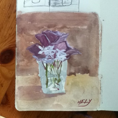 Flowers from the garden no. 2 Gouache on moleskin paper 2013 #helyomargonzalez #moleskin #sketchbook #series #roseandjasmine #flowers #garden #stilllife #worksonpaper #gouache