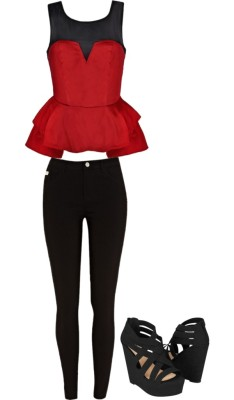 red outfit for summer night by ashley1998-1 featuring peplum topsPeplum top / River Island skinny pants, $45 / Soda peep toe pumps