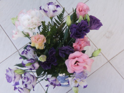 pretty pastel flowers by my grandmother who loves flowers