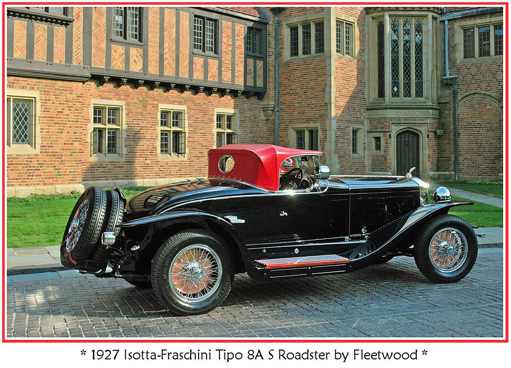 "DIESELPUNK Quote :—""The actor Rudolf Valentino ordered an Isotta-Fraschini for his use because he wanted a car built in his native Italy. He commissioned Ray Dietrich at LeBaron to design and build a special roadster body. As it turned out, LeBaron was not equipped to construct bodies, so the order was placed with Fleetwood in Pennsylvania to build a special roadster body for $25,000. Unfortunately, Valentino died at age 31, two months before Fleetwood finished the car. However, the roadster was so exceptional that it became the star attraction at the manufacturing facility."" From HERE"
