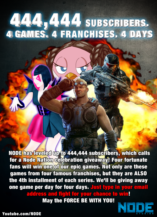NODE-ITES! Are you game to win some games?! Click this totally epic image OR THE LINK to enter our 444,444 giveaway RIGHT NOW!! http://node.fanbridge.com