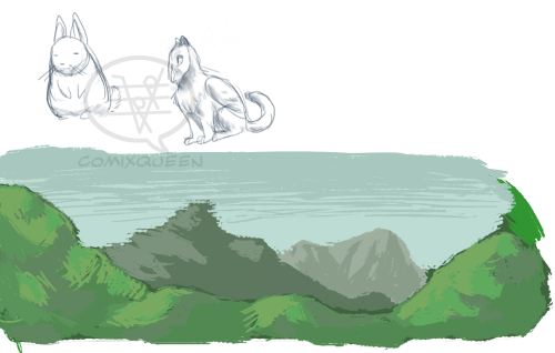 Doodles from last Tuesday. A viscacha, Reva, and an attempt at a landscape/environment.