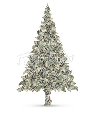 Flowing one hundred-dollar bills in the shape of christmas tree. Isolated on white background. Go>