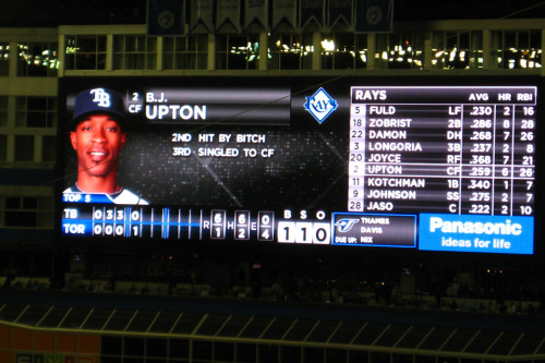 nohomojustlomo:  remember when bj upton was hit by a bitch