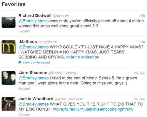 superfriends-goingback:  Bradley James' favourite tweetsHes enjoying the misery.. bradley, stop