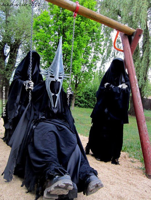 "dorkly:  The Witch-King Goes To the Playground ""No man can swing higher than me…"""