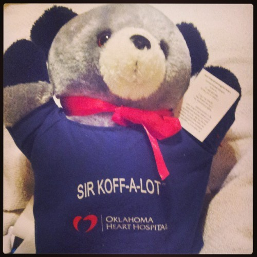 This is Sir Koff-A-Lot. They gave him to me to hug real tight when i cough. I cant remember if he works tonight. But i think he'll have to be in hands reach tonight. #teddybear